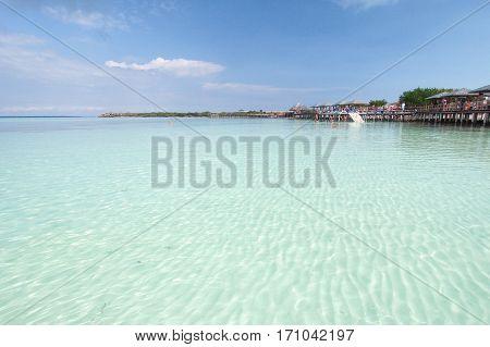 Beach at holiday resort in Playa Pillar on Cayo Guillermo in Cuba