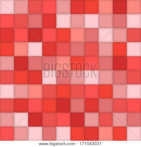Color Red Mosaic Tile Square Vector Background. Halftone Fone. Vector illustration for Web Design.