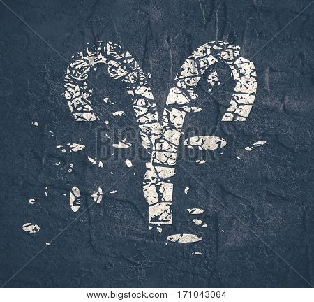 Astrological symbol. Ram sign. Grunge splatter texture