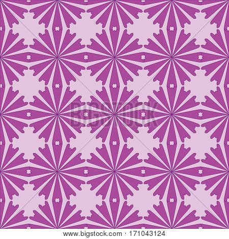 Seamless pattern with purple flowers ornament on purple background