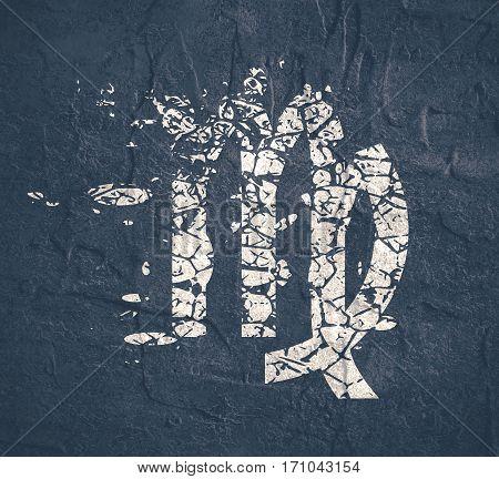Astrological symbol. Maiden sign. Grunge splatter texture