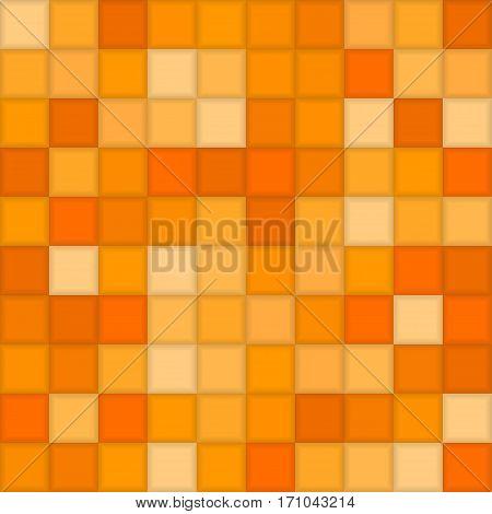 Color Orange Mosaic Tile Square Vector Background. Halftone Fone. Vector illustration for Web Design.