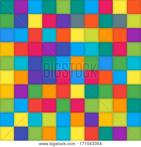 Multi Color Mosaic Tile Square Vector Background. Halftone Fone. Vector illustration for Web Design.