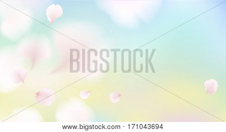 elegant soft color cherry flowers vector sakura petals background