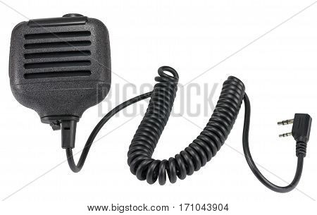 black handheld dynamic microphone for radiocommunication on white background