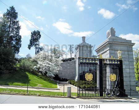 Arlington USA - April 9 2010: Gate of Arlington National Cemetery.