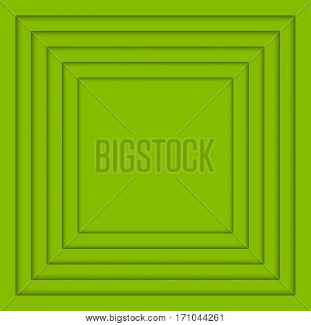 Vector Concentric Greenery Squares Elements Background. Vector illustration. Background Greenery Squares Circles from Shadow. Wed Design.