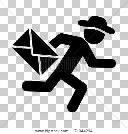 Gentleman Mail Courier icon. Vector illustration style is flat iconic symbol black color transparent background. Designed for web and software interfaces.
