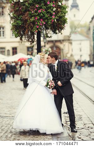 Just Married Couple Kiss Standing On The City Square