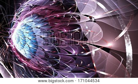 Exotic flower. Tail comet. Meteorites. 3D surreal illustration. Sacred geometry. Mysterious psychedelic relaxation pattern. Fractal abstract texture. Digital artwork graphic astrology magic