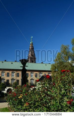 A view of the Christiansborg palace tower in Copenhagen