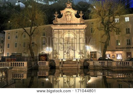 SALZBURG/ AUSTRIA - FEBRUARY 24. View of the old Horse Well at the Kapitelplatz Square at night on February 24, 2016 in Salzburg. Lower Austria.