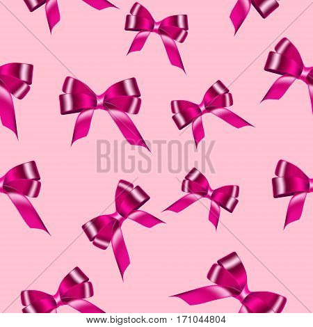 Seamless background with pink satin bows of ribbon