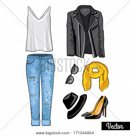 Jeans, shawl, sweater, jumper, high-heeled shoes.  Hipsters and casual fashion vector Illustration