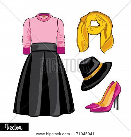 Illustration stylish and trendy clothing.Leather jacket, leather narrowed skirt, high heels shoes and stylish hat.  Silhouette made in modern flat vector style. Fashion vector Illustration