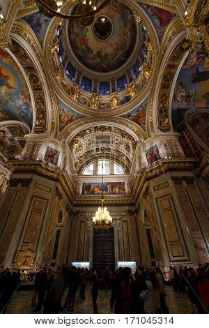SAINT-PETERSBURG RUSSIA - JANUARY 03 2017: The interior of Saint Isaac's Cathedral in Saint-Petersburg Russia.