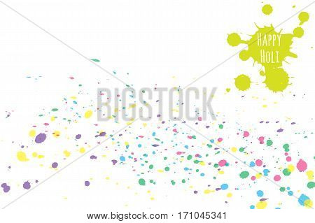 Happy Holi spring festival of colors greeting vector background with colorful splashes.
