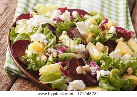 Dietary Food: Salad Of Beets, Pineapple, Cream Cheese And Greens Closeup. Horizontal