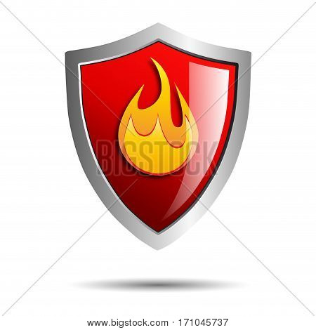 Vector sign Shield secure fire, defense concept in red