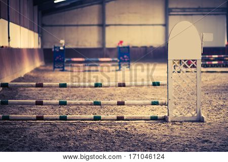 Horse Obstacle Course Inside the Covered Arena.