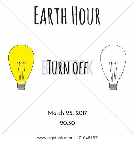 Conceptual illustration with two light bulbs: one os ON another OFF. Could be used in Earth Day vector illustration.