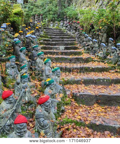 Buddha lined up pathways at Daisho-in Temple grounds in Miyajima Island Hiroshima Japan