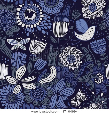 Floral seamless pattern with bird and butterfly in blue