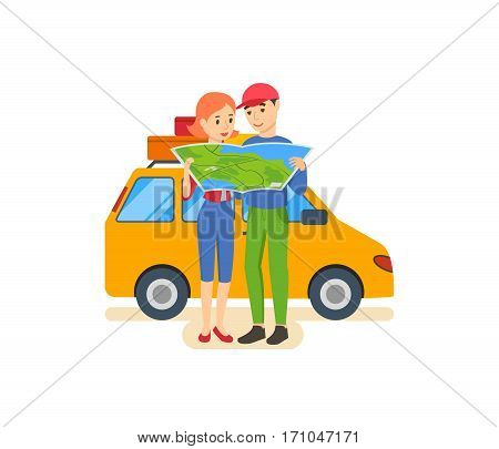 Summer travel concept. Family trip to warm country in his car. Familiarity with the country, atmosphere of the surroundings, traditions, holidays. Vector illustration. Can be used poster, invitation.