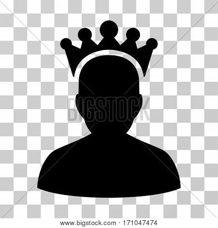 King icon. Vector illustration style is flat iconic symbol black color transparent background. Designed for web and software interfaces.