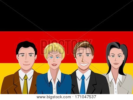 German people front of the flag, language team