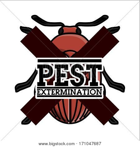 Color vintage pest extermination emblem, label, badge and design elements. Mass media and press conference.