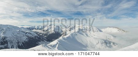 Panorama of top of High mountains, covered by snow. Tatry