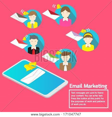 Vector design smartphone email marketing direction notification business team