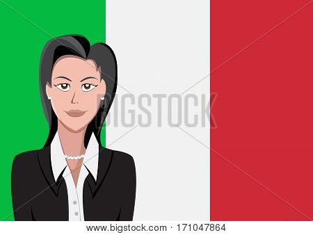 Italian people front of the flag, language woman