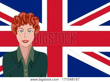 British people front of the flag, language woman