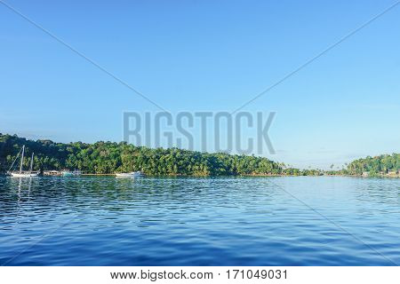 Tranquil harbor in the morning at Bang-Bao Koh Chang Trat Province Thailand.