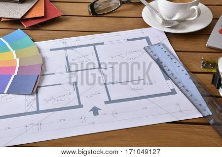 Table With Plan Tools And Samples Of A Decorator Elevated