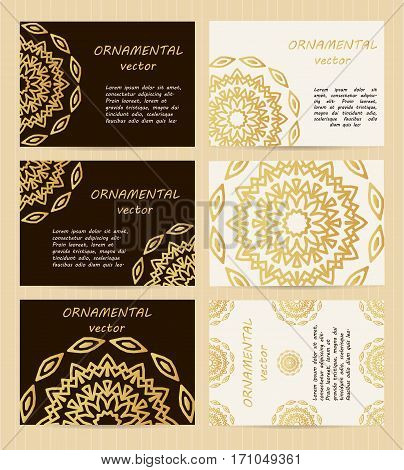 Business Cards 3.5 X 2.5 Inch Size Set. Golden Mandala Decoration. Eastern, Oriental, Islamic Style.