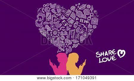 Social Media Share Love Lesbian Concept Design