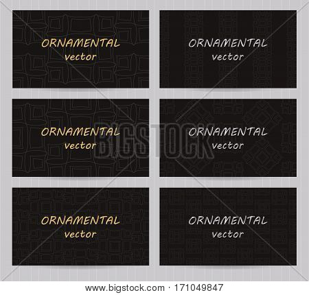 Business Cards 3.5 X 2 Inch Size Set With Seamless Geometric Patterns. Black Backgrounds And Templat