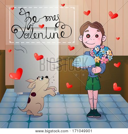 Vector illustration of funny macho man cartoon character with rose in his mouth. Greetings Happy Valentine s Day. Vector card