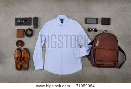 Men's casual outfits with accessories ,flat lay,on gray