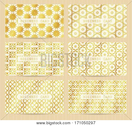 Business Cards 3.5 X 2 Inch Size Set With Seamless Geometric Patterns. Golden Backgrounds And Templa