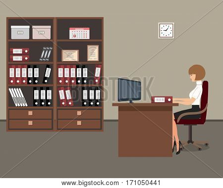 Workplace of office worker. The young woman is an employee at work. There is a table, a chair, two cabinets with folders and other objects in the picture. Vector flat illustration