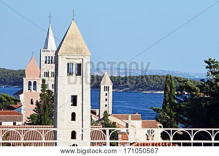 Four churches on island Rab in Croatia