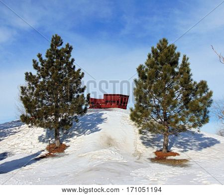 A sledding hill outside a small town in North Dakota.