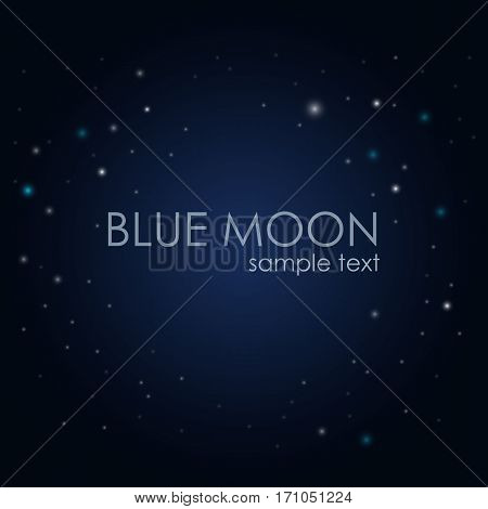 Full moon in the night sky. Little stars around on a blue background. Stock illustration.