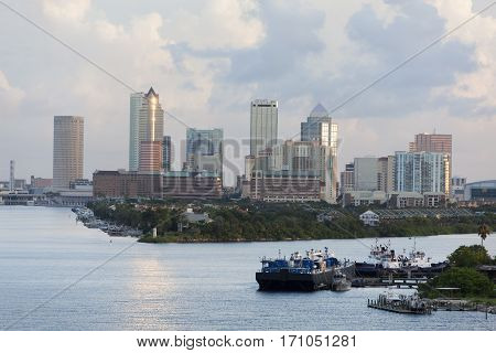 The view of Harbour Island with Tampa city downtown in early morning (Florida).