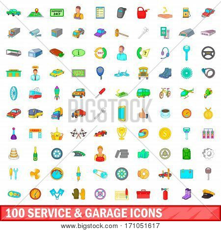100 service and garage icons set in cartoon style for any design vector illustration