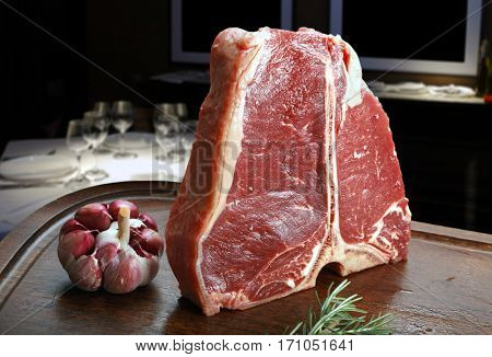 Raw steak t-bone